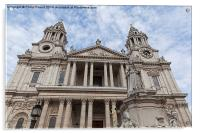 Queen Anne Statue in front of St Paul's Cathedral, Acrylic Print