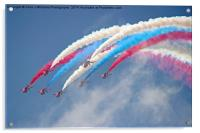 Looping Through Cloud - The Red Arrows., Acrylic Print