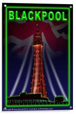Blackpool Tower Poster Neon Green, Acrylic Print