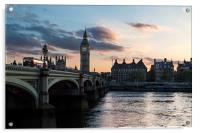 Sunsetting over London Westminster, Acrylic Print