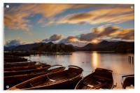 Moored Boats Derwent Water, Lake District., Acrylic Print