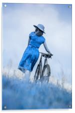 woman with bicycle in field, Acrylic Print