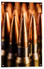 Close up of  Standing Bullets., Acrylic Print