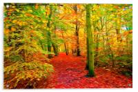 Autumn Woodland with swirly lines filter, Acrylic Print