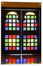 Stained glass double doors, Acrylic Print