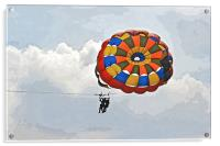Female para gliders with cloudscape, Acrylic Print