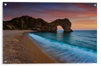 Durdle Door Sunset Wave, Acrylic Print
