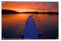 Sunset over ice covered bay, Acrylic Print
