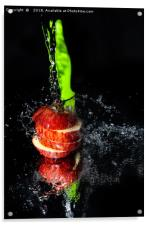 Fresh Apple slices drenched with water, Acrylic Print