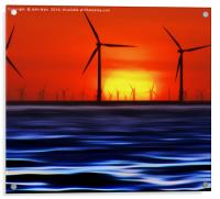 Wind Farms in the Sunset (Digital Art), Acrylic Print