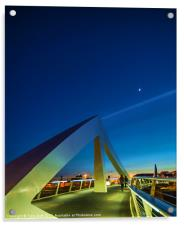 The Squiggly Bridge over the Clyde by Moonlight, Acrylic Print