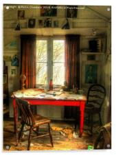 Dylans Desk in The Writing Shed, Acrylic Print