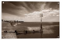 Cleethorpes Pier & Beach at Low Tide, Acrylic Print