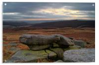 Over Owler Tor Sunset From Carl Wark, Acrylic Print