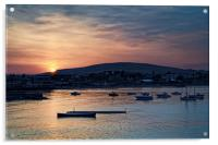 Sunset over Swanage and Purbeck Hills , Acrylic Print