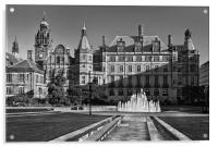Sheffield Town Hall and Peace Gardens             , Acrylic Print