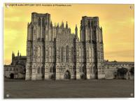 SEPIA WELLS CATHEDRAL WEST FRONT, Acrylic Print