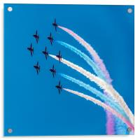 Red Arrows Coloured Roll, Acrylic Print