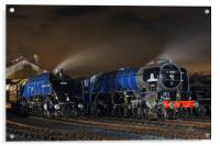 Majestic steam locomotives on shed at night, Acrylic Print