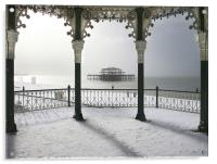 Bandstand winter view, Acrylic Print