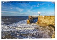 Swirling Sea at Whitby., Acrylic Print