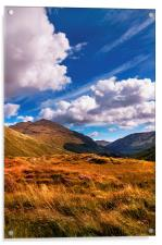 Sunny Day at Rest and Be Thankful. Scotland, Acrylic Print