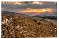 Winskill Sunset above Langcliffe in the Yorkshire , Acrylic Print