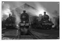 Steam shed at dusk., Acrylic Print