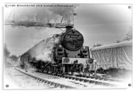 Steam locomotive 73129 in snow., Acrylic Print