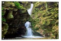 St Nectans Glen Waterfall at Thethevy nearTintagel, Acrylic Print