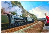 Waving to the Flying Scotsman Steam Train , Acrylic Print