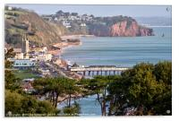 View of Teignmouth and The Parson and Clerk Rocks , Acrylic Print