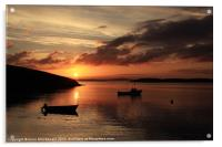Sunset And Boats At Trondra, Acrylic Print
