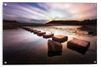 Three Cliffs Bay stepping stones, Acrylic Print