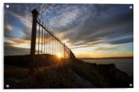 Safety railings and sunset, Acrylic Print