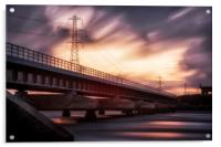 Loughor estuary rail bridge sunset, Acrylic Print