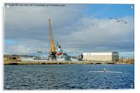 Sculling in Birkenhead's West Float, Acrylic Print