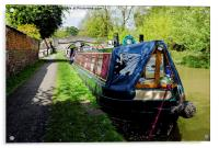 A pair of narrow boats at Christleton in Cheshire, Acrylic Print
