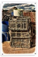 Lobster pots stacked up ready for reuse. (grunged), Acrylic Print