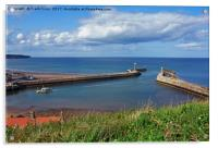 Whitby Harbour and its 2 piers, Acrylic Print