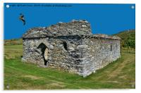 The ruins of the 16th Century St Justinians Chapel, Acrylic Print