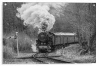 Steam train in black and white, Acrylic Print