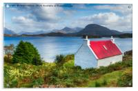 A pretty croft with a red roof looking out over Lo, Acrylic Print