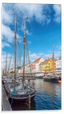 Copenhagen Nyhavn District with Foreground Tallshi, Acrylic Print