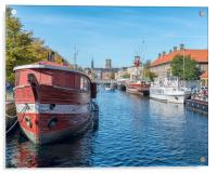 Copenhagen Canal Scene with Red Barge, Acrylic Print