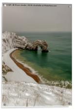Durdle Door covered in snow , Acrylic Print