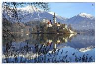 Church of the Assumption of Mary on Bled Island La, Acrylic Print