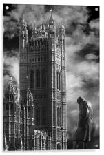 Winston Churchill and Westminster Abbey, Acrylic Print