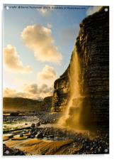Sunset Waterfall, cliff, Nash Point, Wales, UK, Acrylic Print