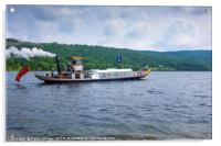 The historic Steam Yacht Gondola leaving Coniston , Acrylic Print